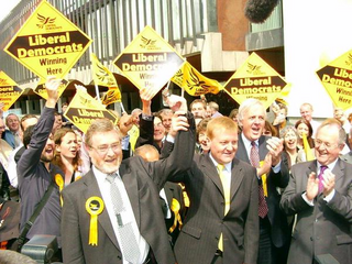 Charles Kennedy celebrates Liberal Democrats taking control of Newcastle 2004