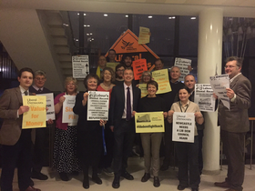 Tim Farron at Newcastle Civic Centre with Lib Dem activists Jan 2016