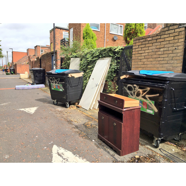 Back lane dumping by student landlords in Newcastle