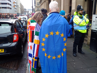 Pro EU demonstrators in Newcastle