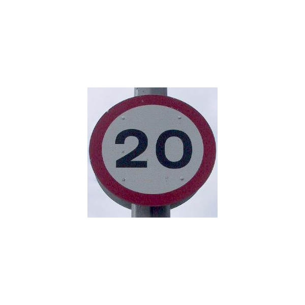 Twenty miles per hour maximum speed limit road-sign.