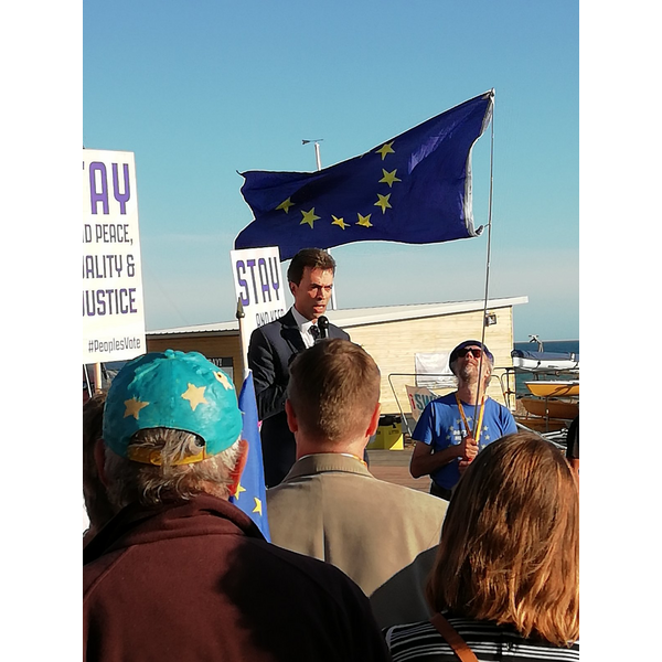 Tom Brake speaks at Broghton seafront rally