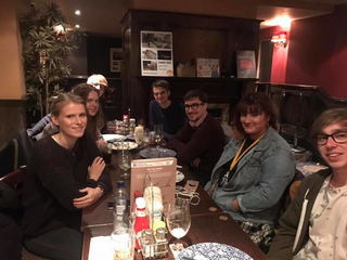 Members of Newcastle University Young Liberals sat at a pub table