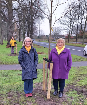 Parklands Team at new tree planting on the Great North Road